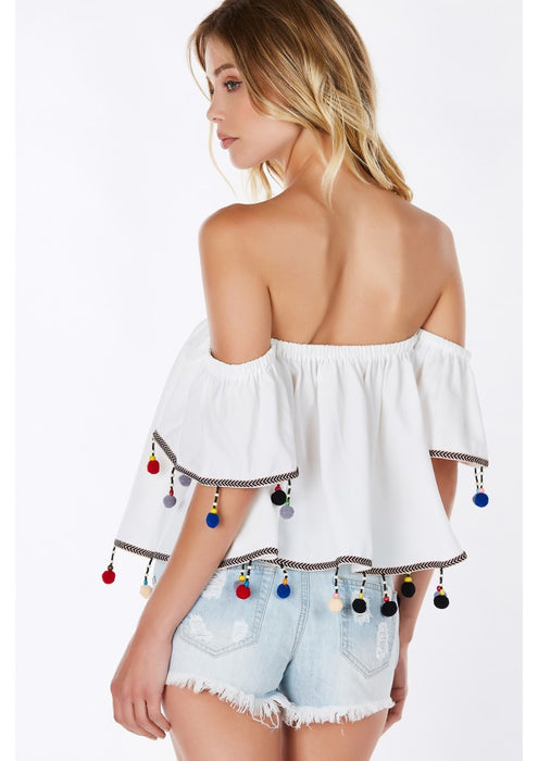 White pom pom off shoulder cute trendy summer flared top
