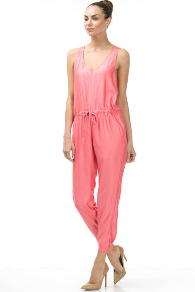 Coral Silky Sexy Jumpsuit