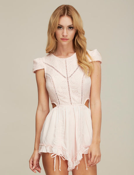 Baby pink lace cap sleeve short frilly summer vacation romper playsuit