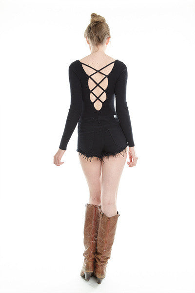 Cindy Black Sweater Lace up Bodysuit