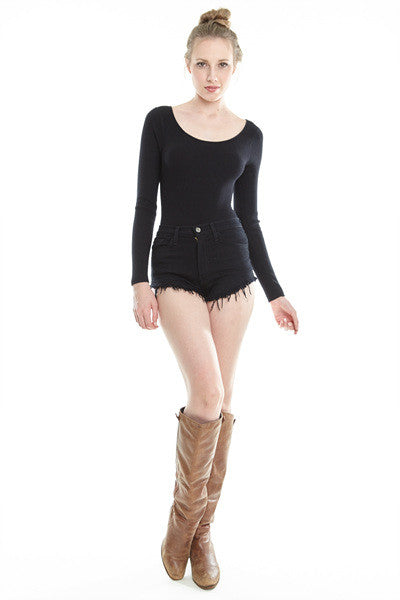 Black lace up back sweater long sleeve bodysuit top