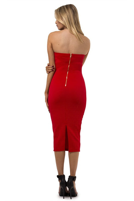 Red Sleeveless bodycon midi sexy cocktail dress