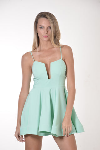Mint Deep V-Neck Flared Short Dress