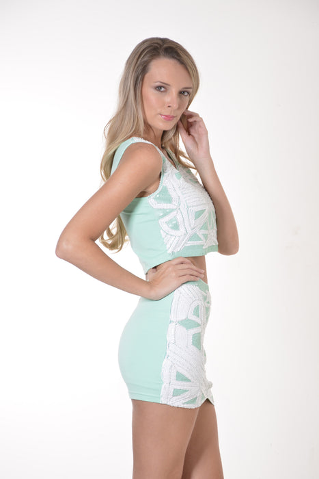 Sequin Mint and Pink Crop Top and Skirt Set