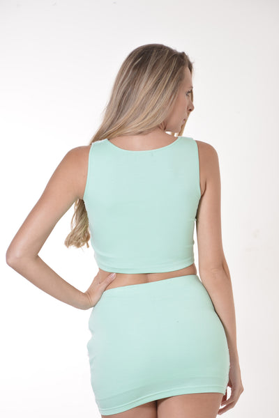Juliette Sequin Mint and Pink Crop Top and Skirt Set