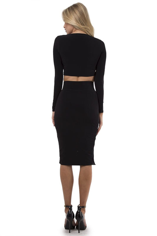 Black crop long sleeve top and high waisted skirt with slit two piece set