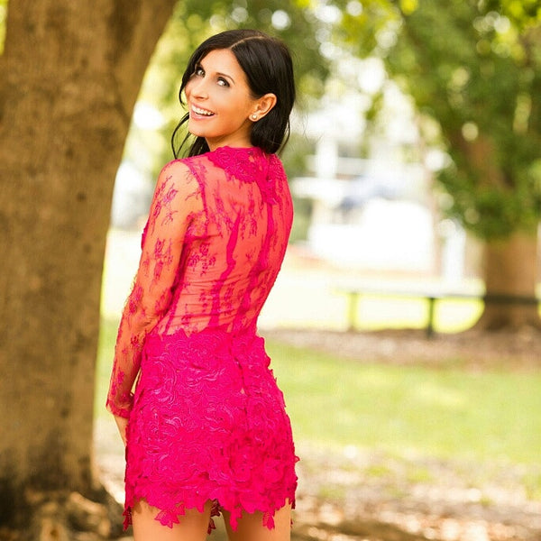 Fuchsia Backless Long Sleeve Backless Cocktail Party Lace Dress