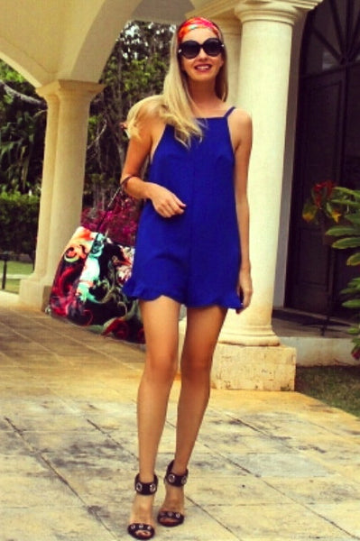 Yasmin Backless Flirty Blue Romper Playsuit