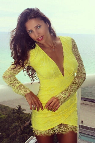 Aphrodite Yellow Deep V-Neck Backless Lace Dress