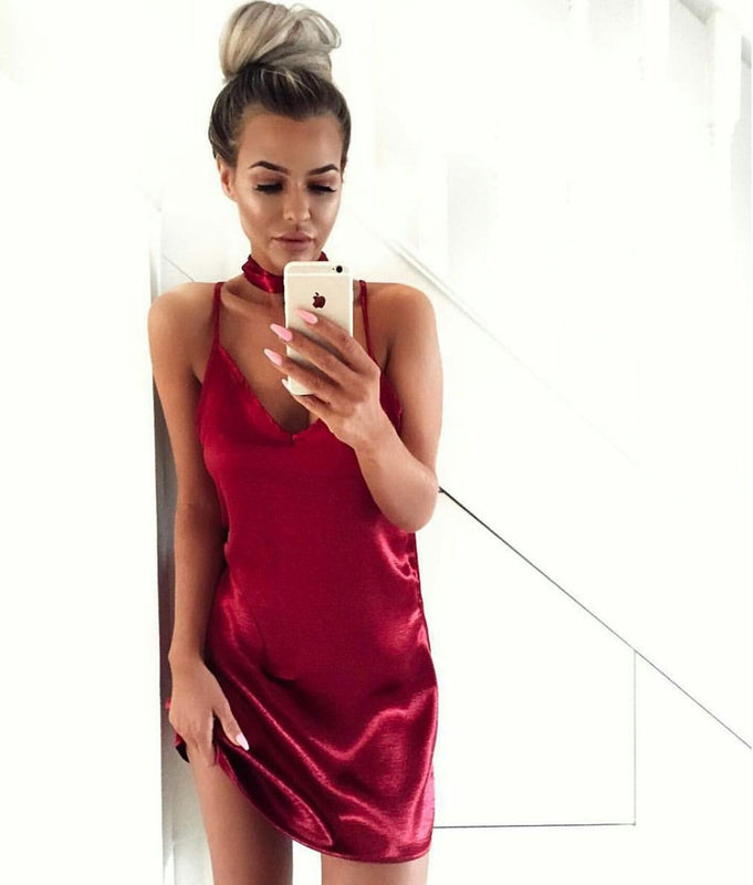 Maroon silk choker trendy cute sexy slip short cocktail dress