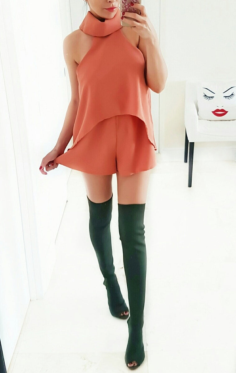 Olivia Rust Turtleneck Romper