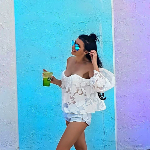 White sheer embroidered off shoulder summer tube top street style