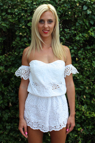 Bohemian White Crochet Off Shoulder Romper