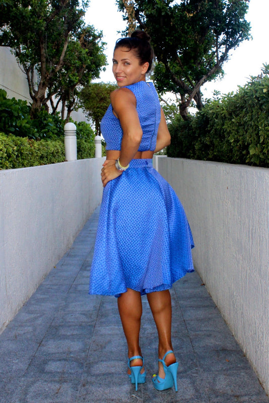 Blue Crop Top and Flared Skirt Set