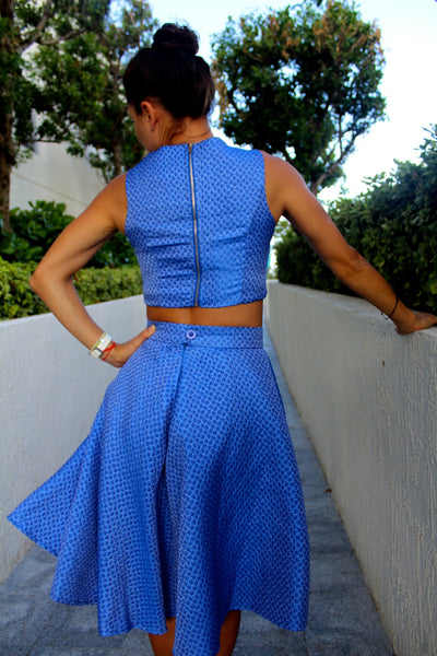 Bethany Blue Crop Top and Skirt Set