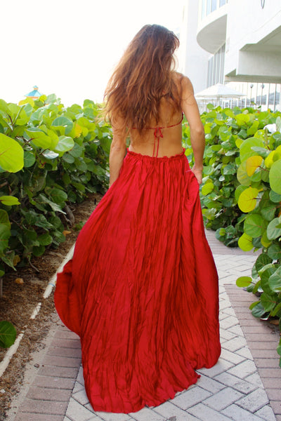 Red Crochet Backless Christmas Maxi Long Beach Dress