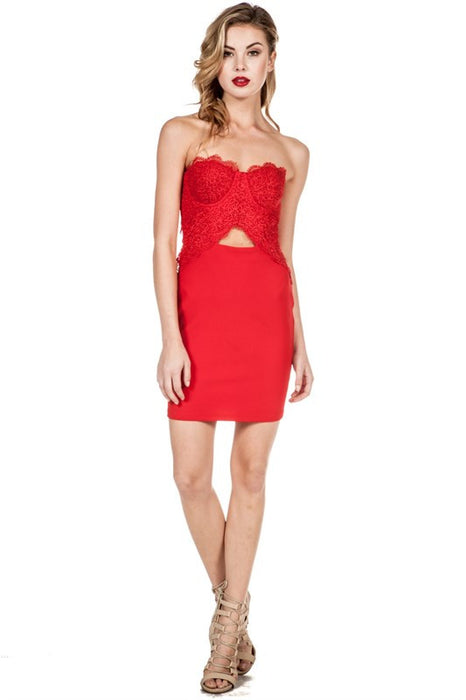 Red Lace Bustier Sleeveless Body Con Holiday Party Dress