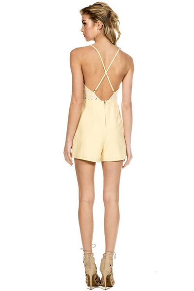Yellow crochet backless cute skort romper