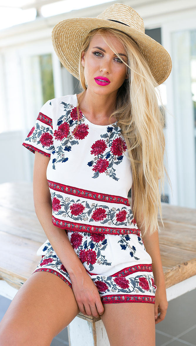 Summer Floral Shorts Set
