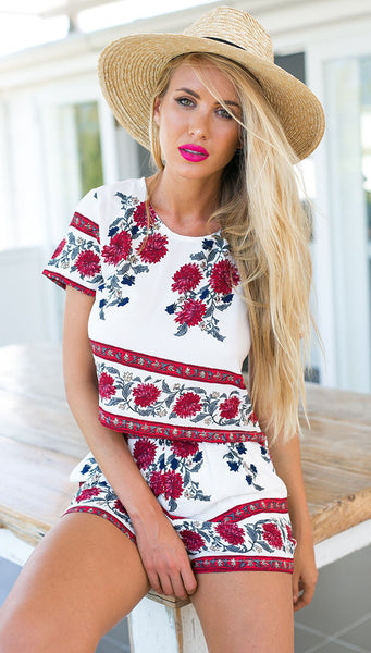 Floral summer crop top and high waisted shorts cute set