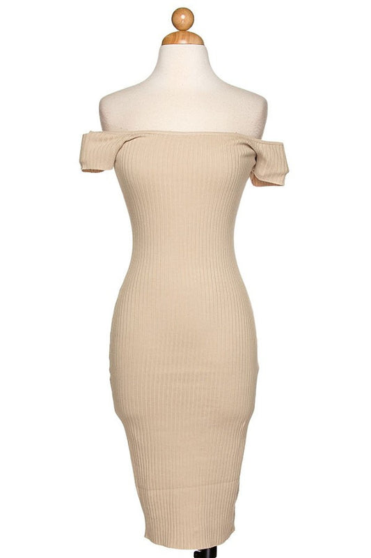 Beige off shoulder stretchy sexy bodycon midi cocktail dress