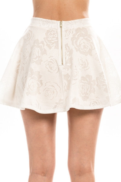 Florencia White Floral Crochet High Waisted Flared Skirt