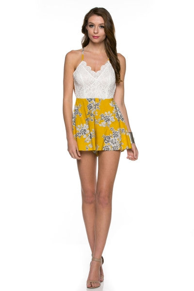 Backless Yellow Crochet Summer Shorts Romper Jumpsuit