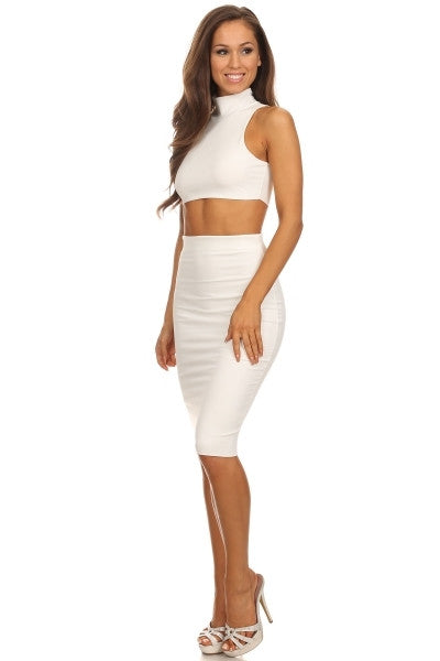 White crop top high waisted midi skirt set