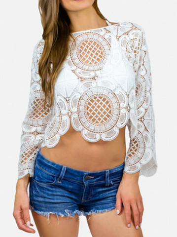 Backless Crochet Lace Floral Lace Top