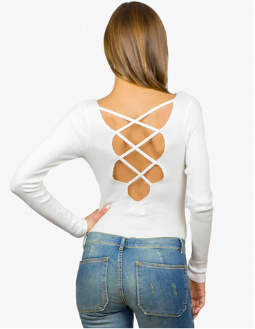 White lace up back long sleeve sweater top bodysuit