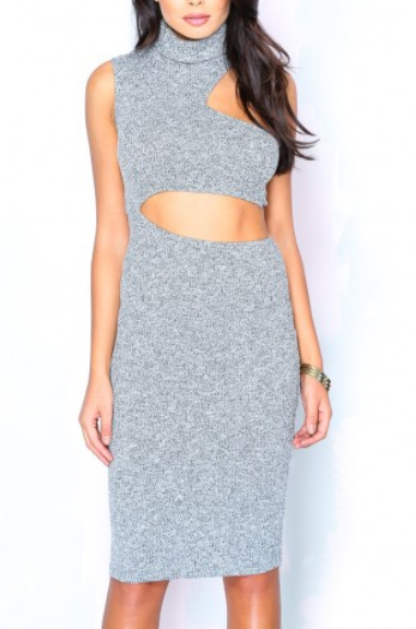 Grey turtleneck bodycon cut out sweater dress