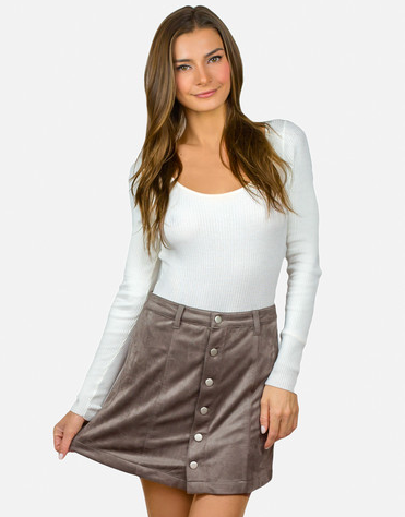 Grey suede A line buttons cute trendy skirt