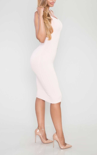 Blush pink sexy cocktail bodycon stretchy midi dress