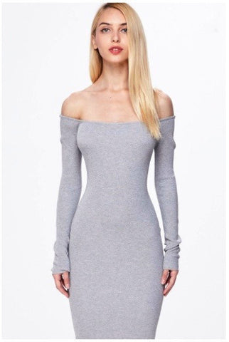 Grey lace up back off shoulder bodycon sexy cute winter long sleeve sweater dress
