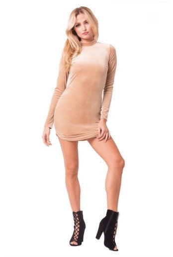 Gold beige mock neck long sleeve velvet soft cute mini winterdress