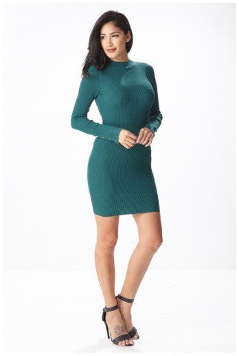 Green long sleeves open back backless cute sexy sweater mini dress