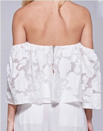 White sheer embroidered off shoulder summer tube top