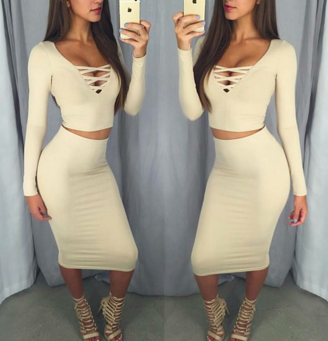 Beige Long sleeve lace up Crop Top and Midi Bodycon Skirt Set