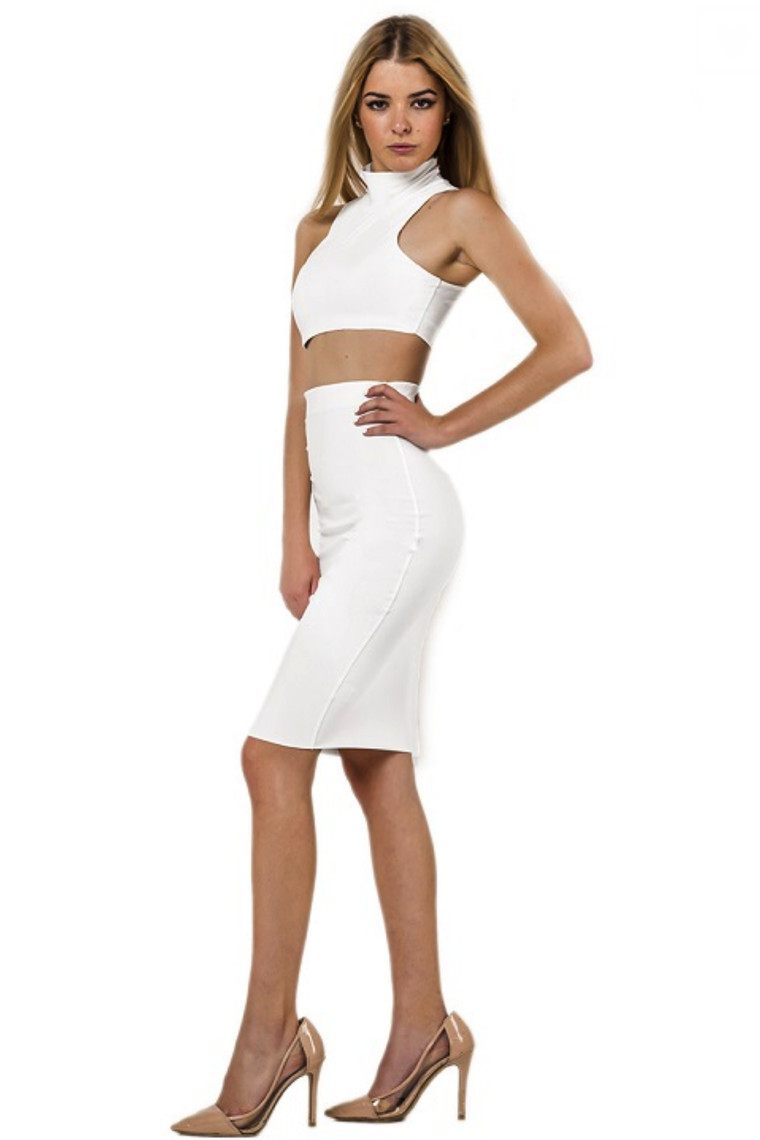 Caitlin White Crop Top and Midi Skirt Set