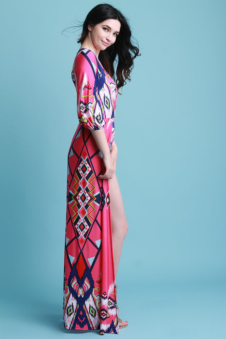 Tribal Print Plunging Neck Open Front Bodysuit Maxi Dress
