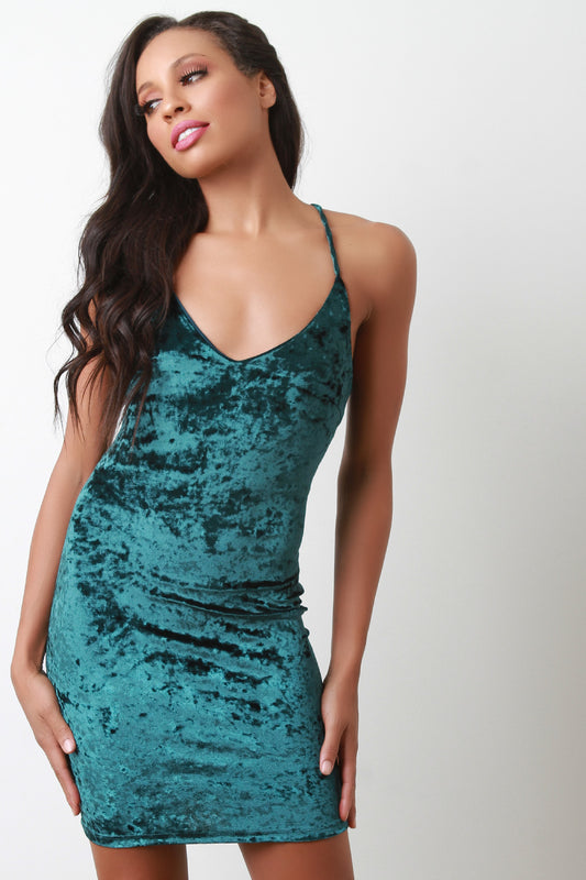 Crushed Velvet Back Corset Mini Dress