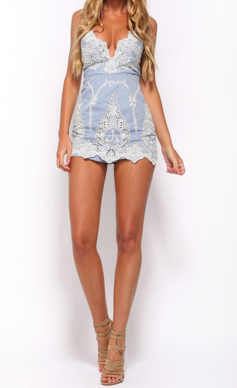 Blue crochet backless cute skort romper
