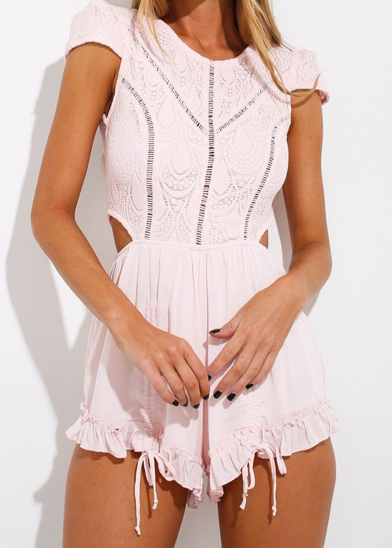 Candy Pink Lace Cap Sleeve Romper