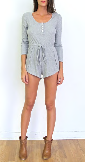 Grey ribbed long sleeve casual romper playsuit