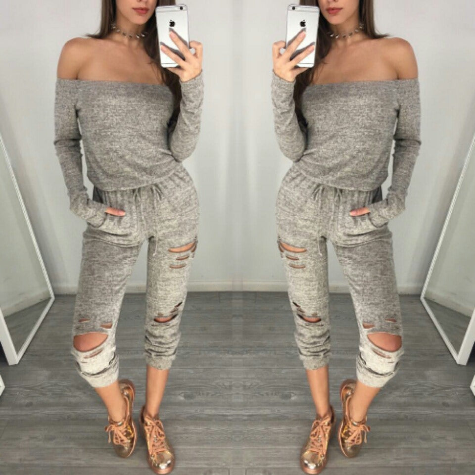 Grey off shoulder cut out long sleeve cute jumpsuit romper