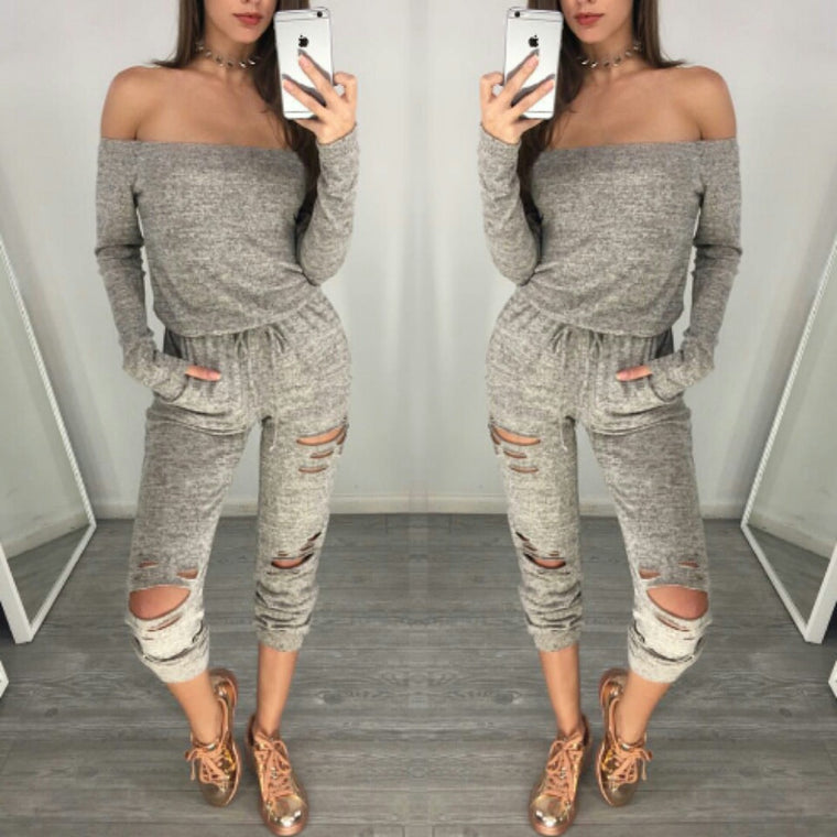 Rocky Grey Off Shoulder Jumpsuit