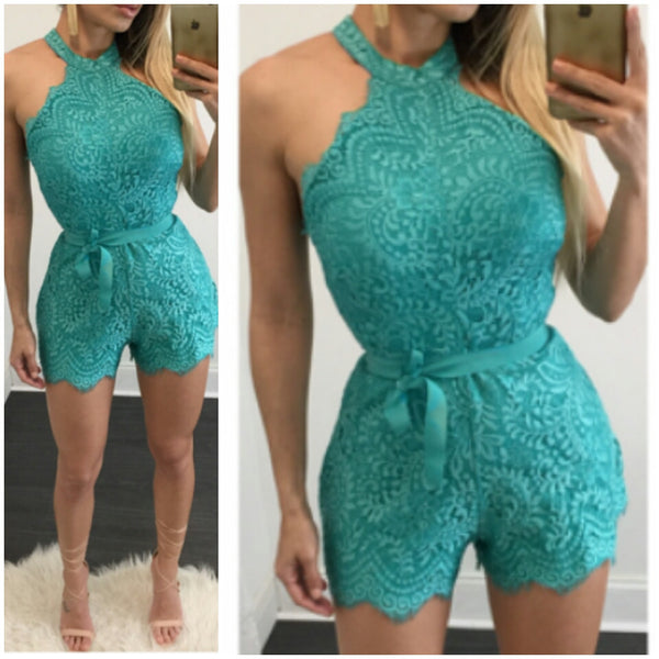 Jade lace over the neck cute sexy romper playsuit