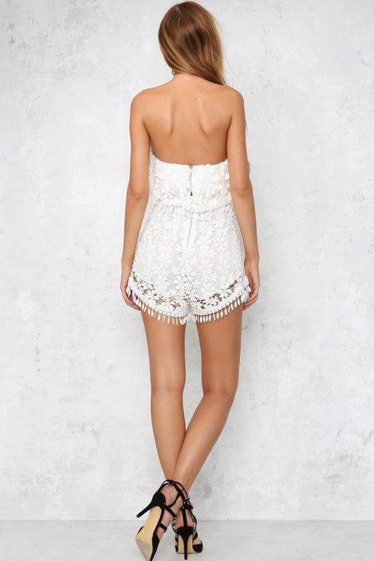 White sleeveless floral lace cute summer romper playsuit