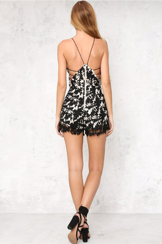 Black lace triangle cute romper playsuit