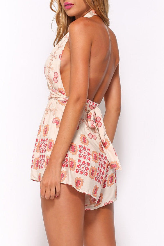 Red bohemian cut out backless romper playsuit